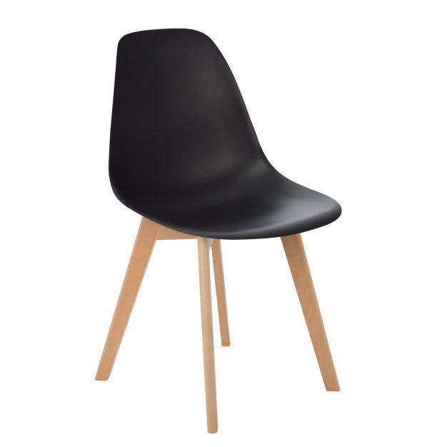 chaise design noir pieds bois