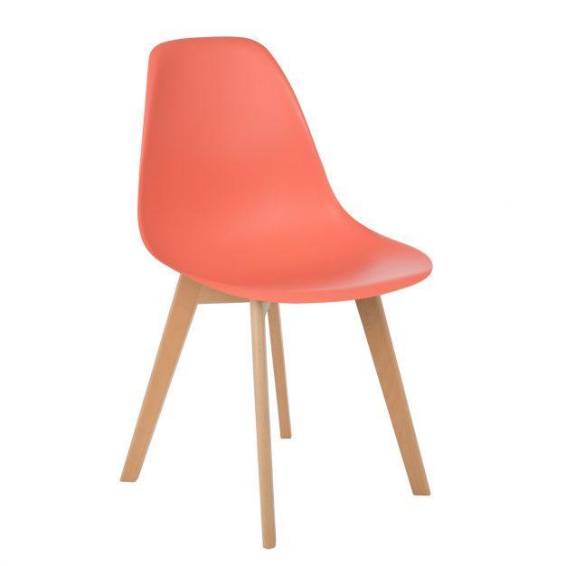 chaise moderne orange corail bois