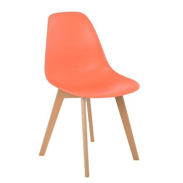 chaise design orange saumon nordique
