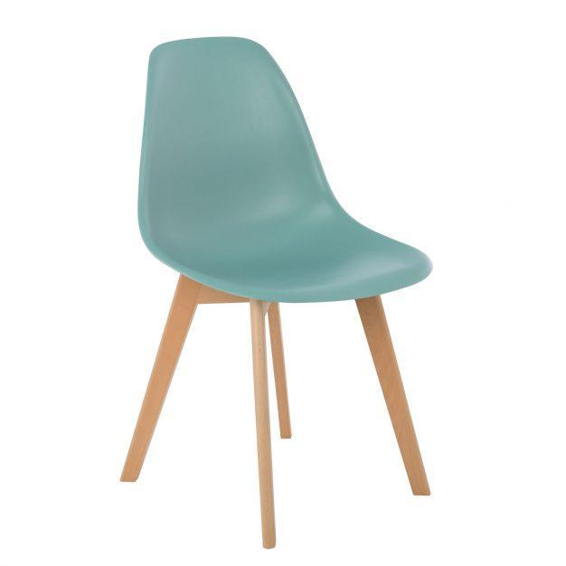 chaise bleu clair pieds bois