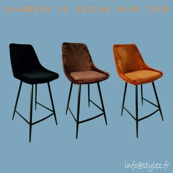tabouret de bar en velours coulours