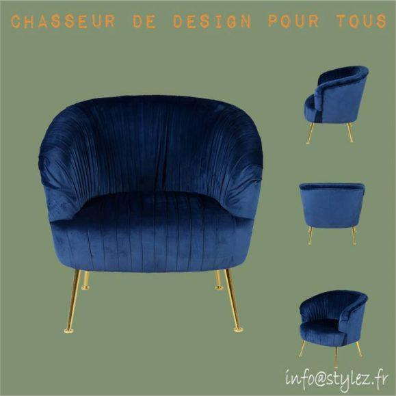 fauteuil en velours plissé bleu avec pieds doré diva