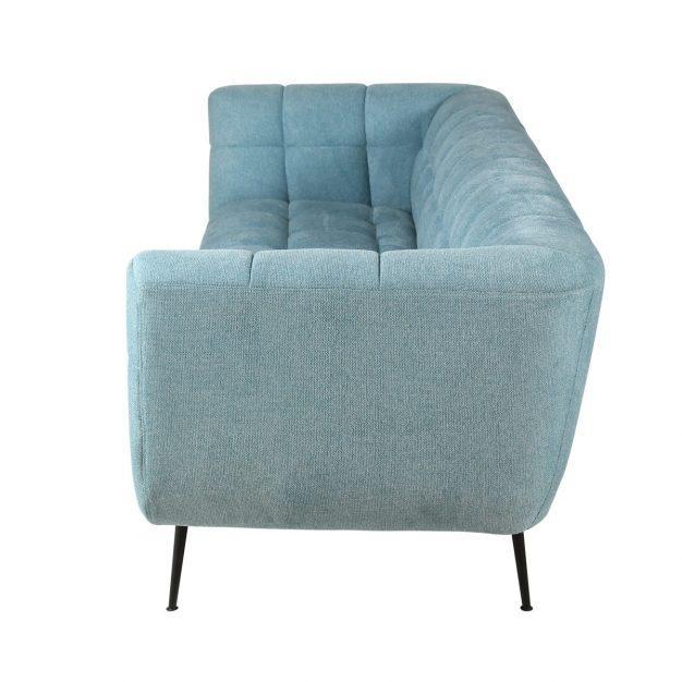 canapé bleu ciel en tissu avec pieds en métal