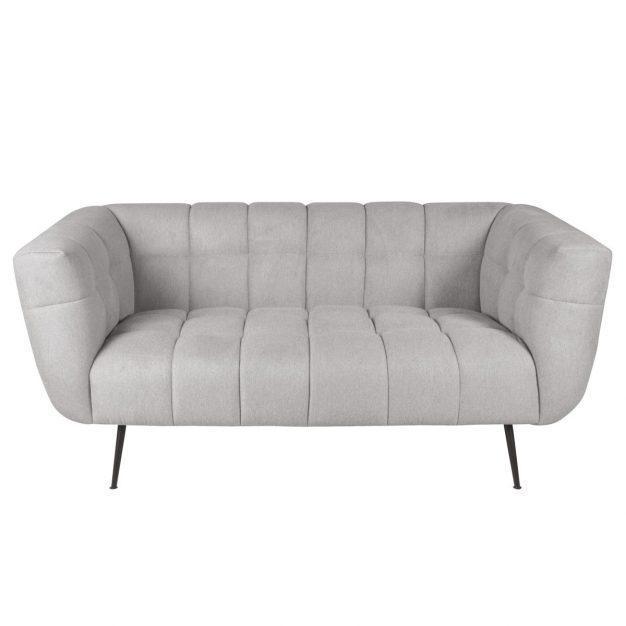 canapé en tissu simple gris clair confortable