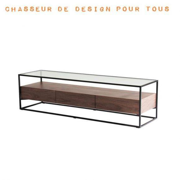 table basse en verre et noyer helix