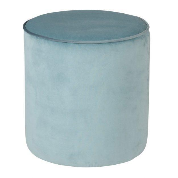 pouf en velours bleu ciel