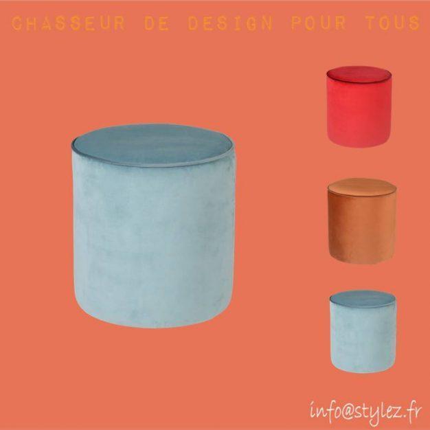 pouf velours colorés klint