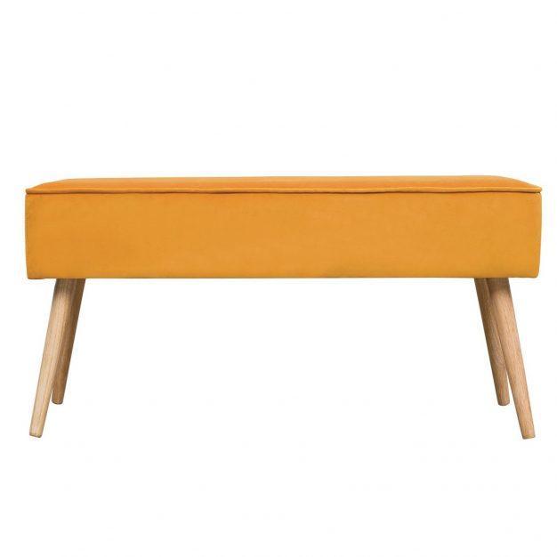 banc en jaune moutarde pieds en bois style scandinave velours