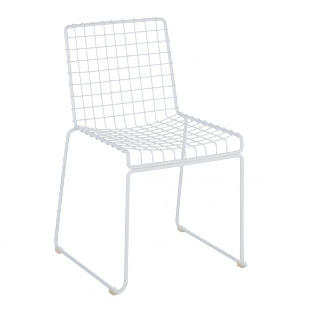 chaise blanche métal