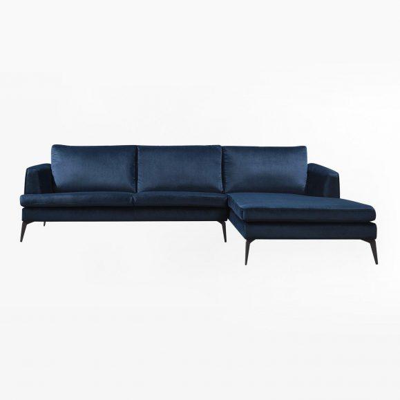 canapé velour bleu