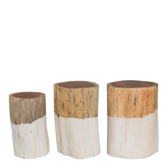 3 tables basses tronc