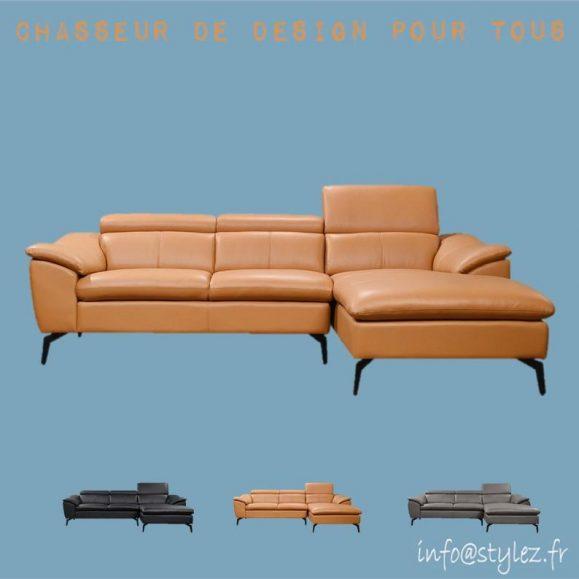canapé d'angle chenille similicuir
