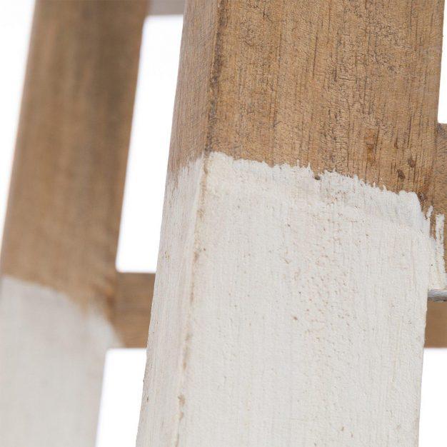 tabouret en bois naturel pied blanc